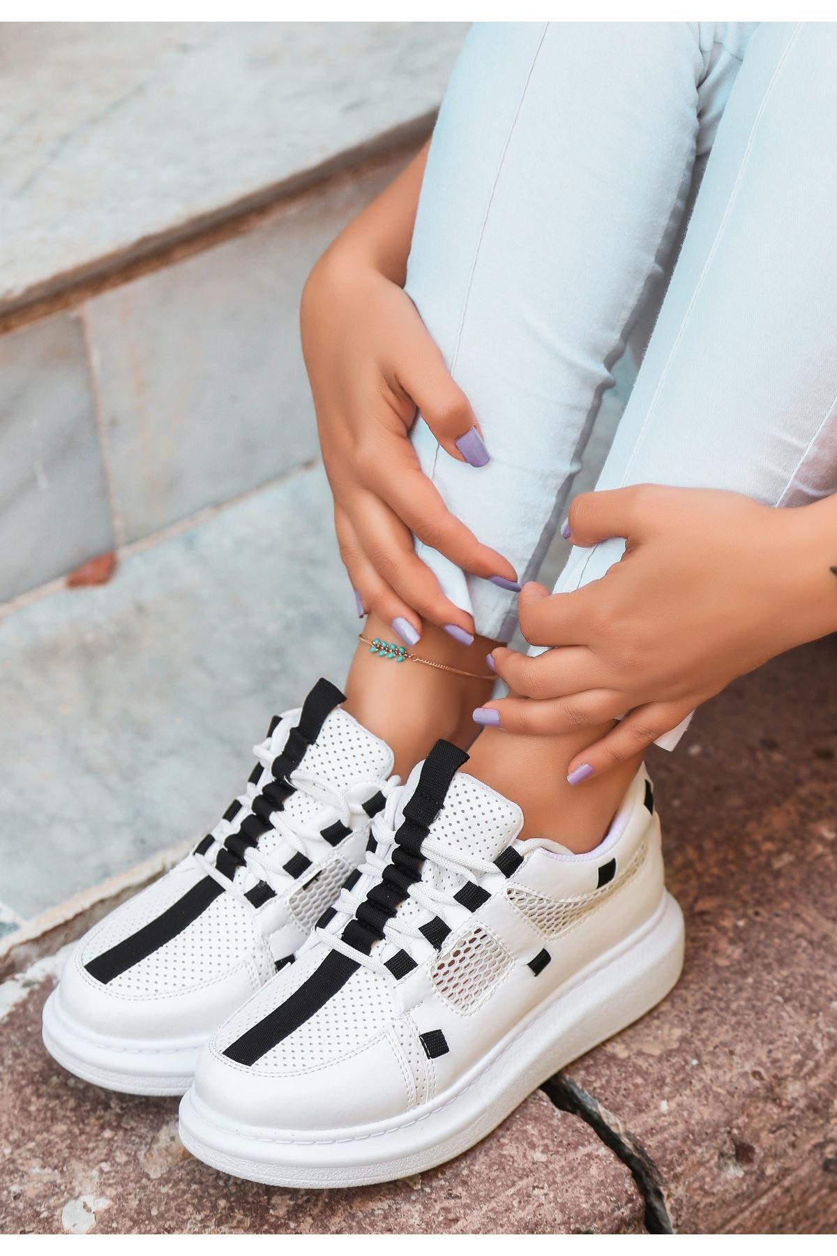 Voni Beyaz Cilt Fileli Spor Ayakkabı