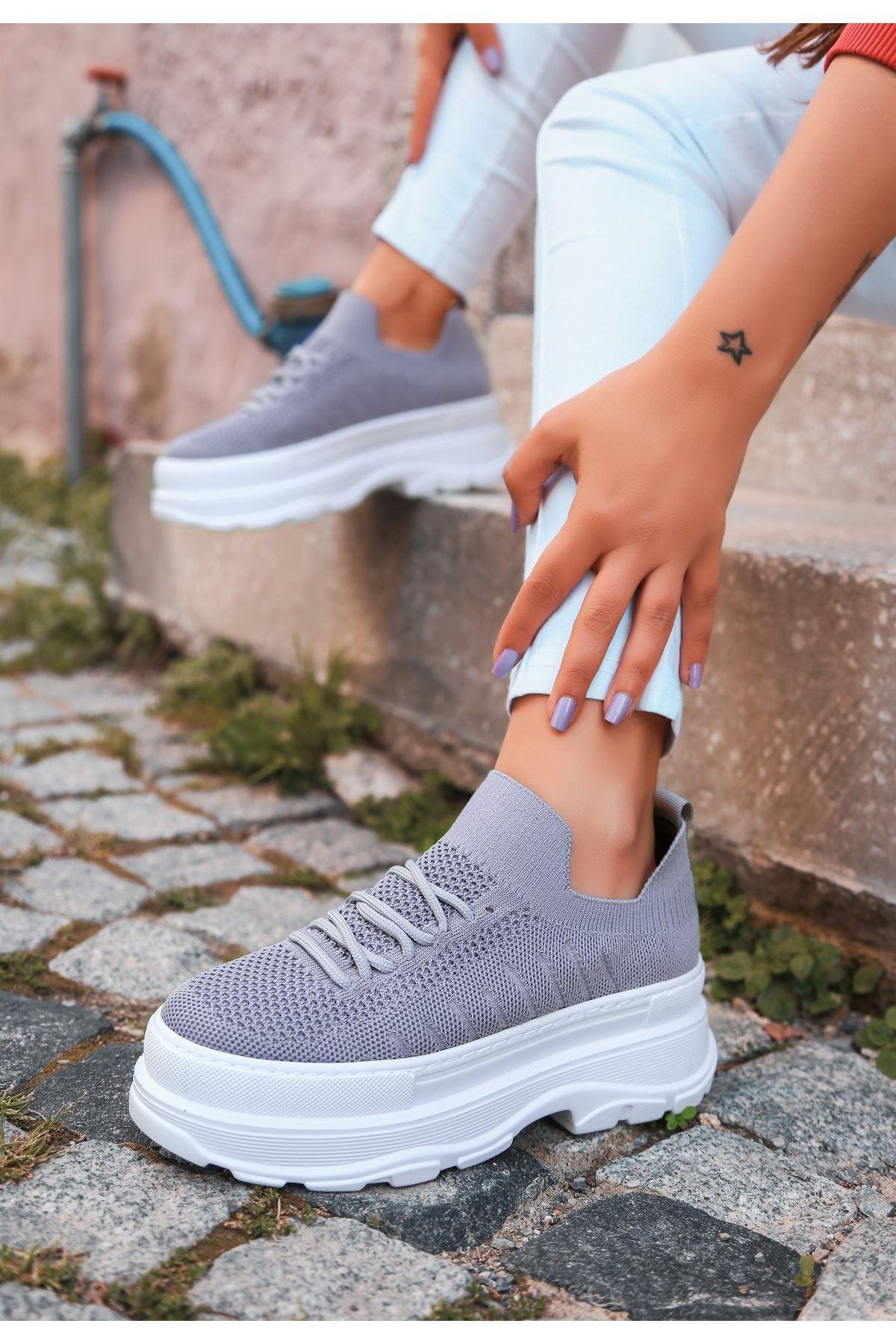 Cosie Gri Triko Bağcıklı Spor Ayakkabı