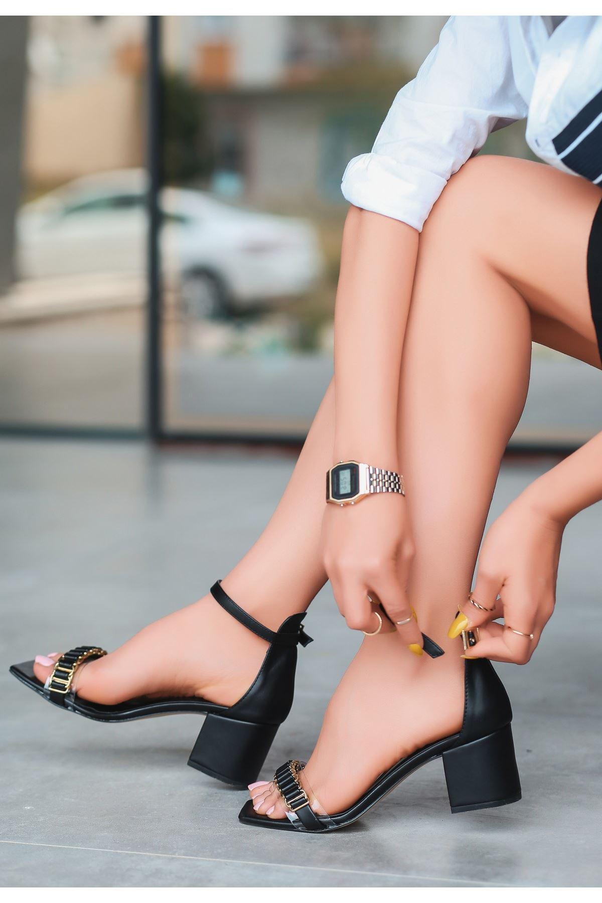Centi Siyah Cilt Topuklu Ayakkabı
