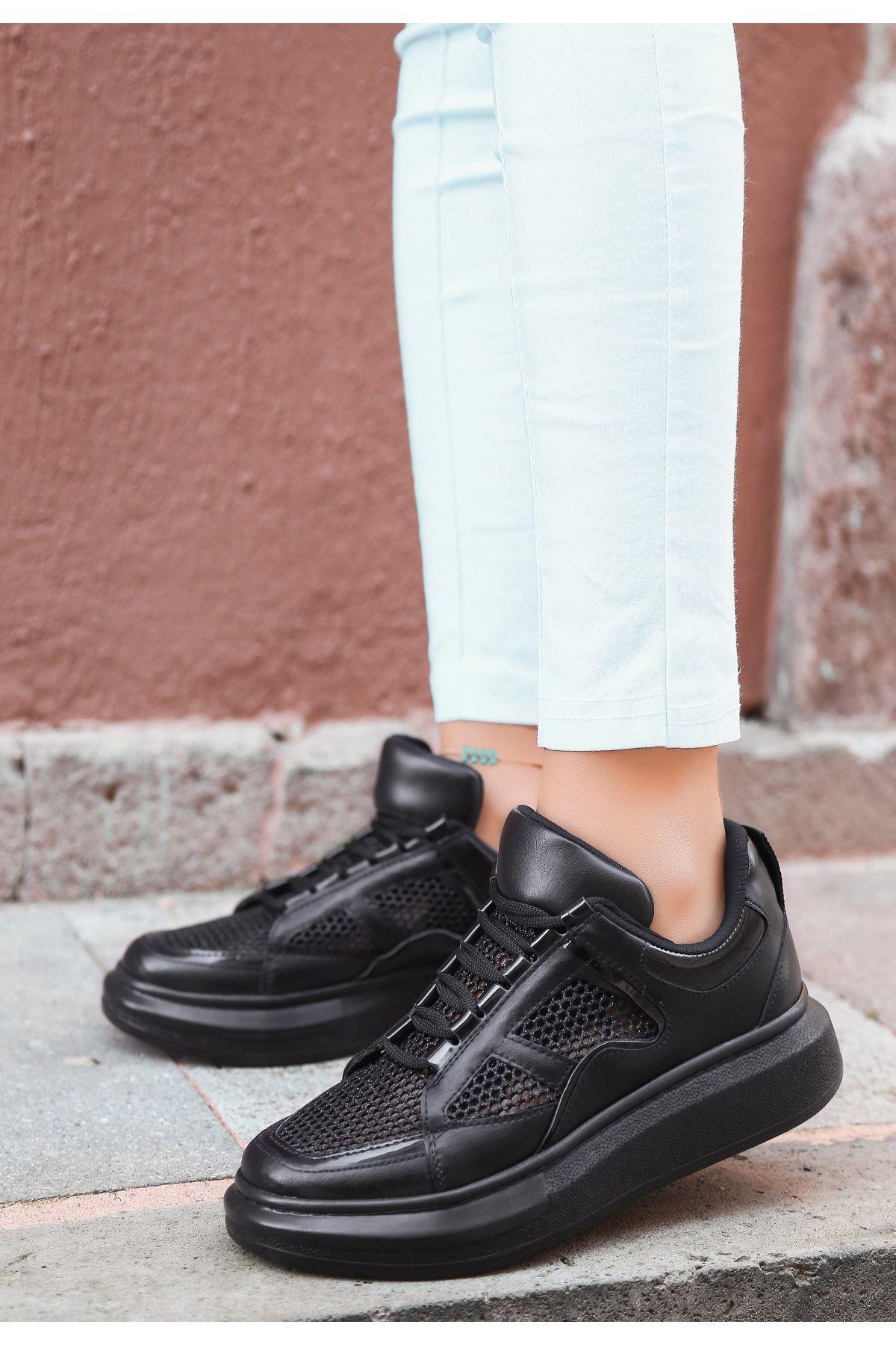Voni Siyah Cilt Simli  Fileli Spor Ayakkabı