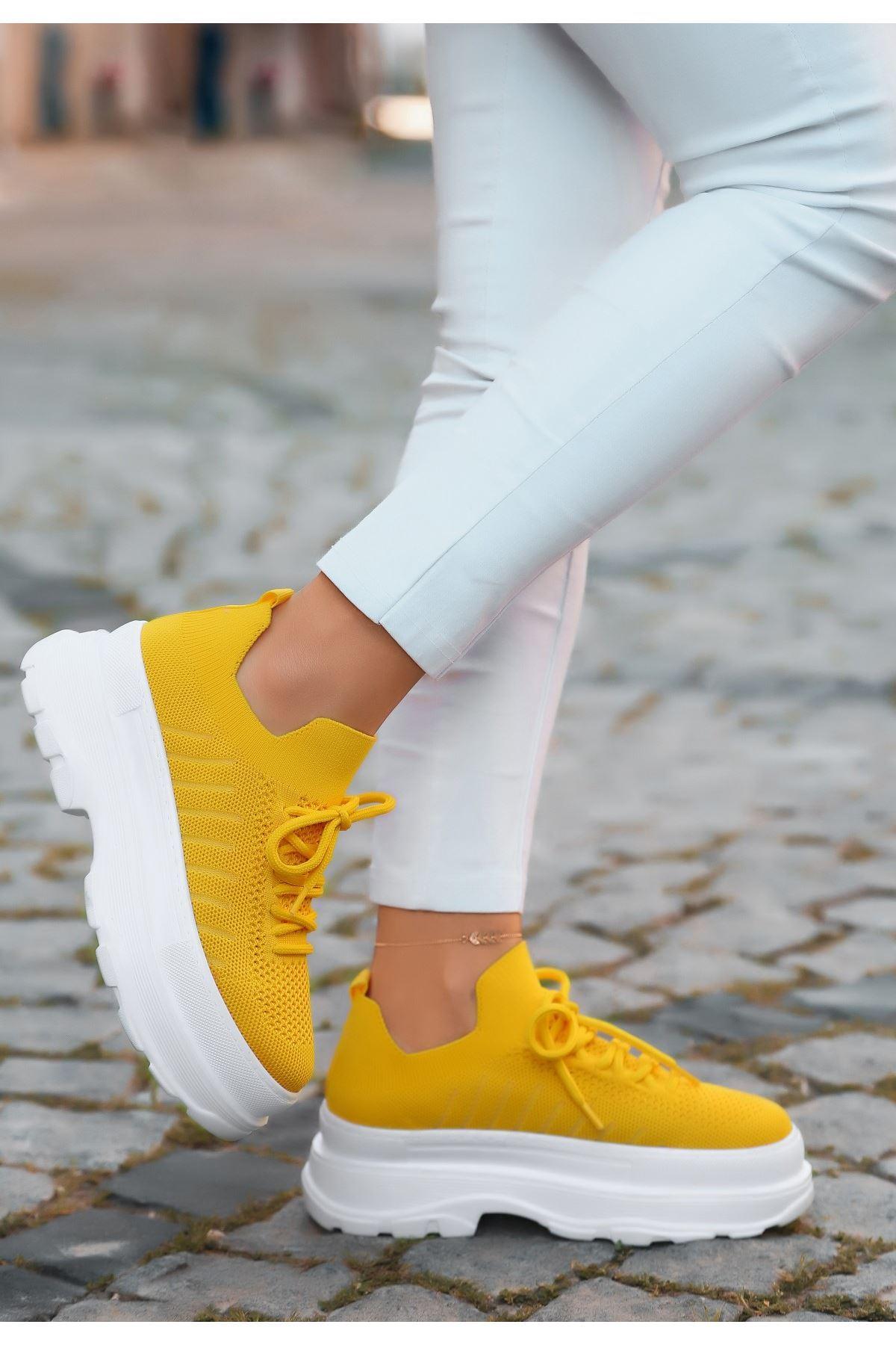 Cosie Sarı Triko Bağcıklı Spor Ayakkabı