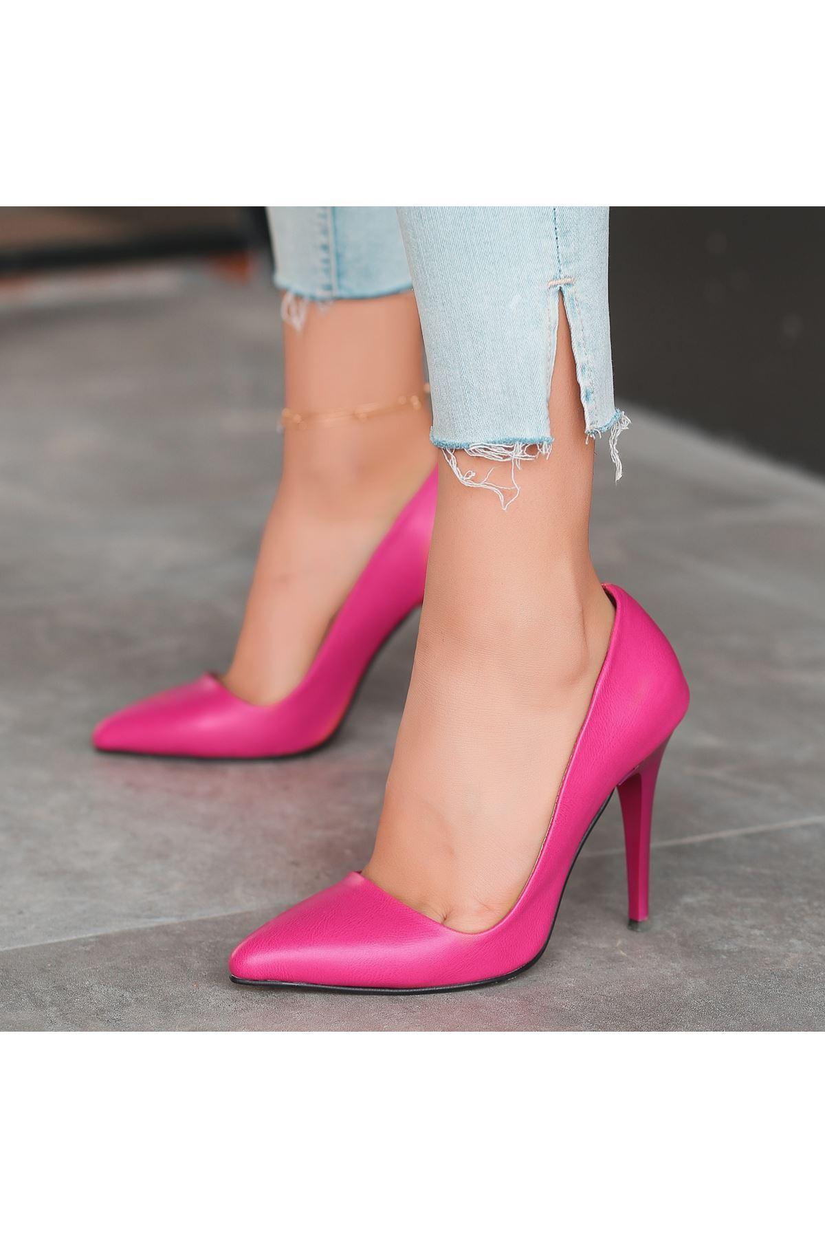 Reme Fuşya Cilt Stiletto Ayakkabı