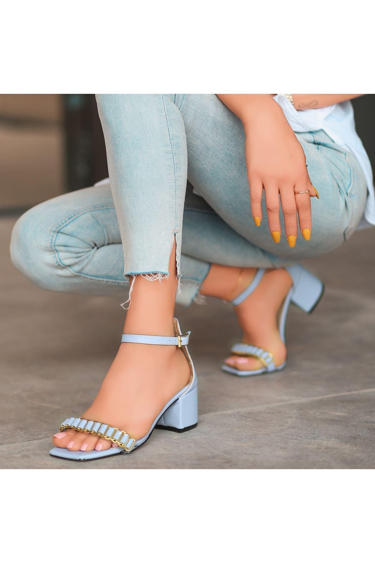 Centi Bebe Mavisi Cilt Topuklu Ayakkabı