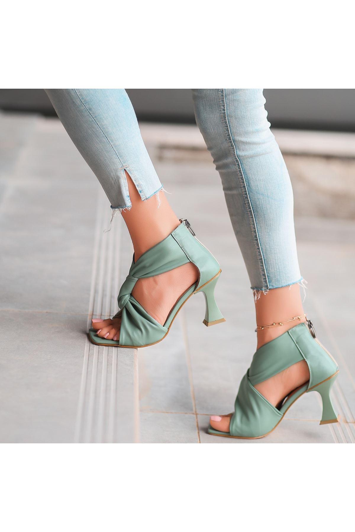 Myem Turkuaz Cilt Topuklu Ayakkabı