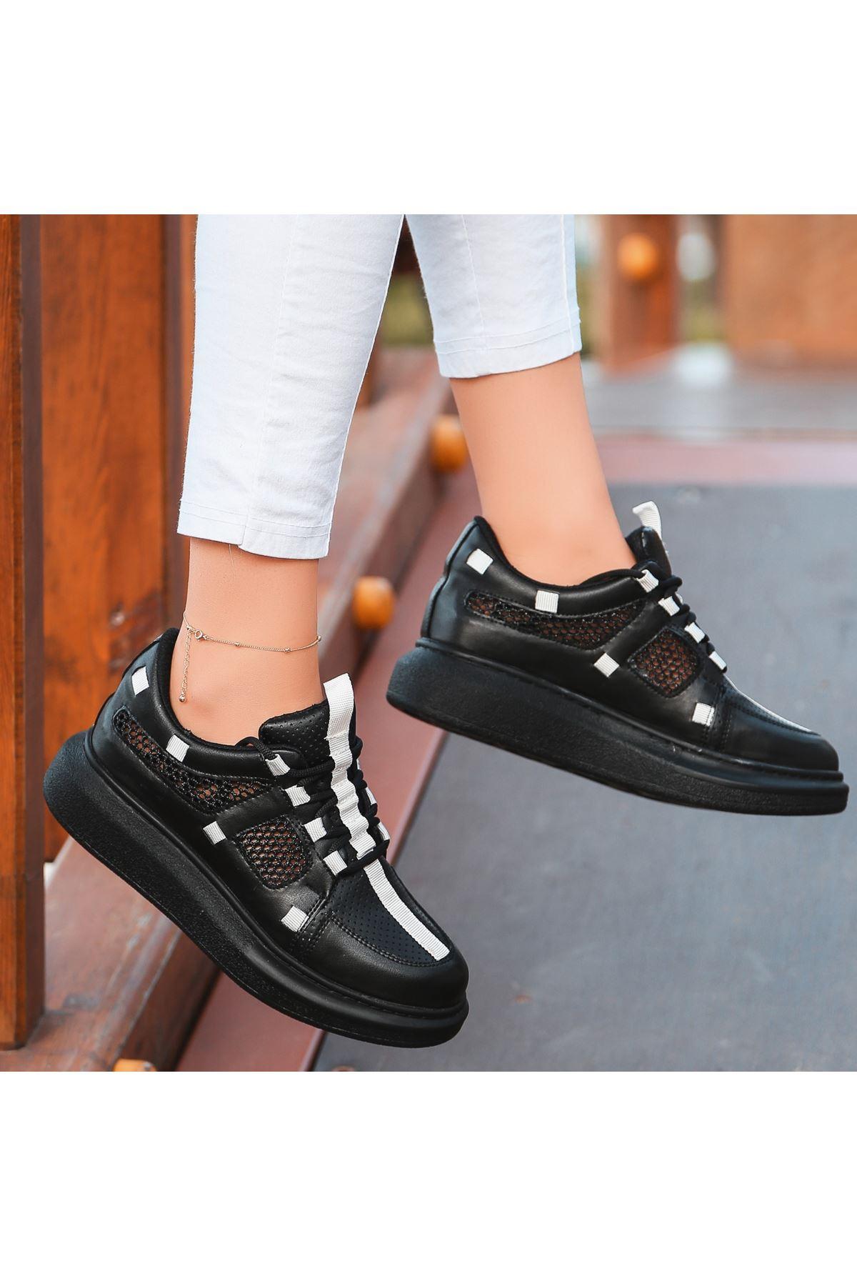Voni Siyah Cilt Fileli Spor Ayakkabı