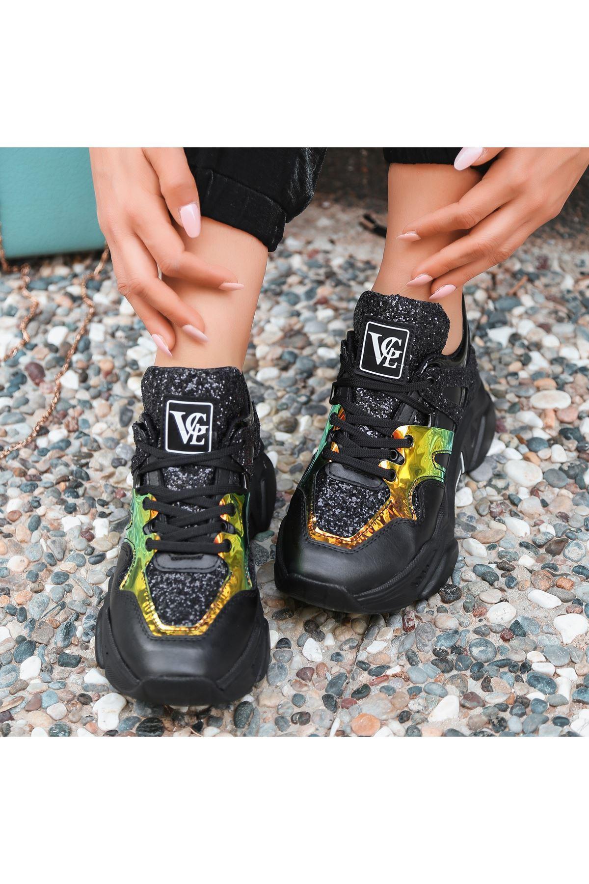 Meya Siyah Cilt Hologramlı Spor Ayakkabı