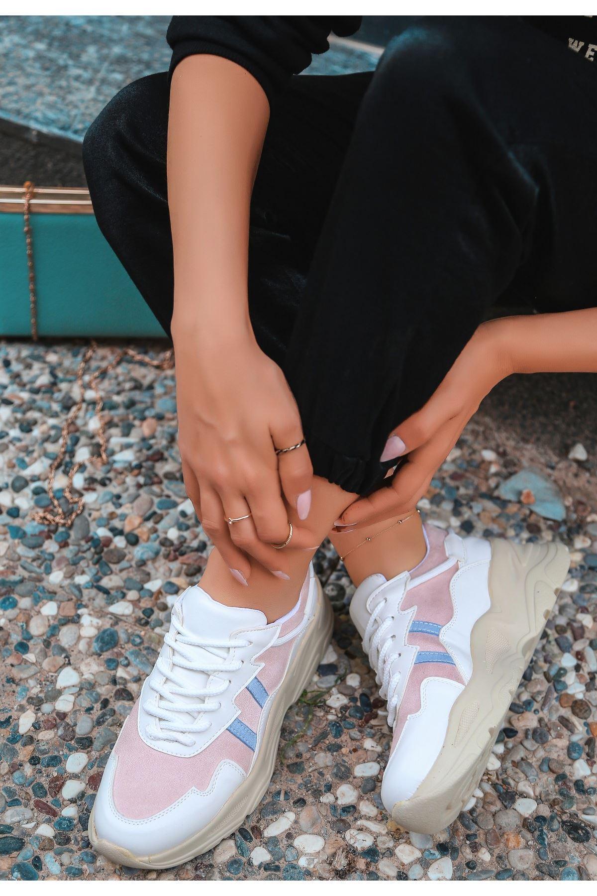 Atil Beyaz Cilt Pudra Detaylı Spor Ayakkabı