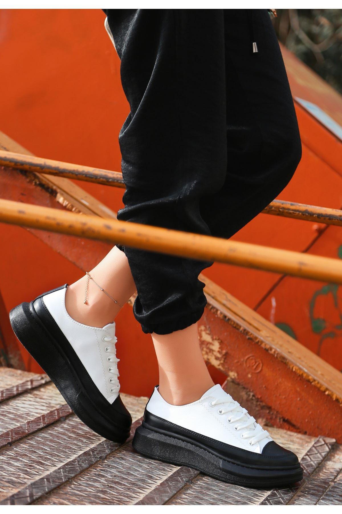 Voni Siyah/Beyaz Cilt Spor Ayakkabı