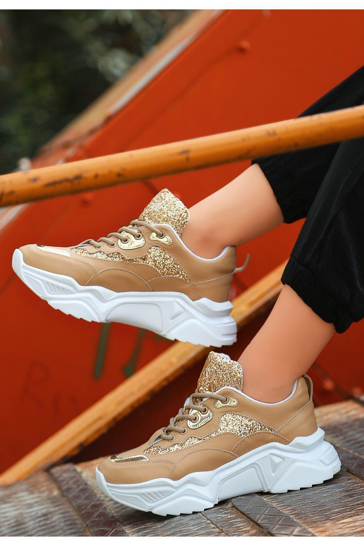 Meya Vizon Cilt Simli Spor Ayakkabı