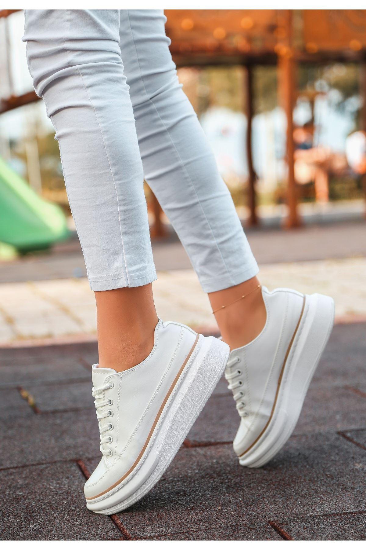 Voni Beyaz Cilt Vizon Detaylı Spor Ayakkabı