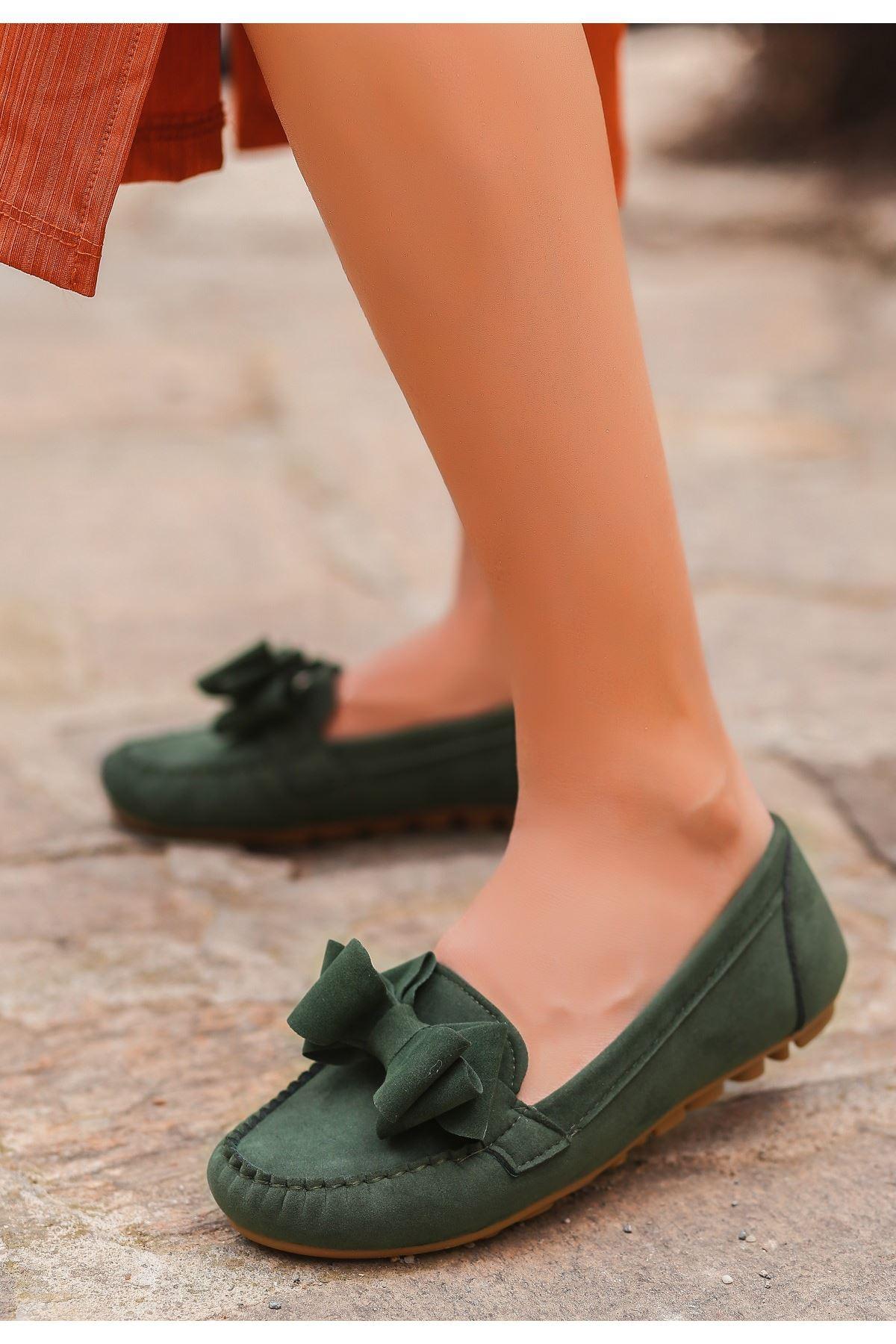 Jinax Haki Yeşil Süet Fiyonklu Babet Ayakkabı