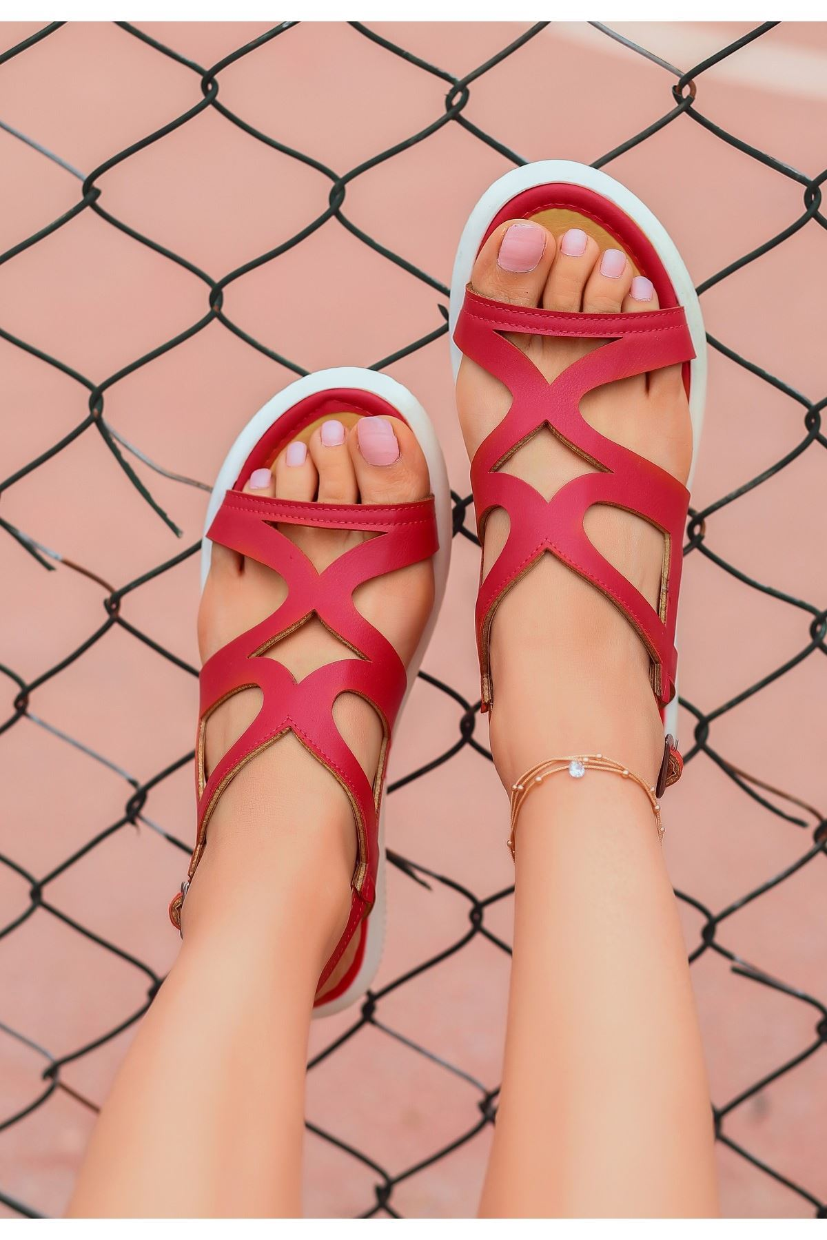 Roil Kırmızı Cilt Sandalet