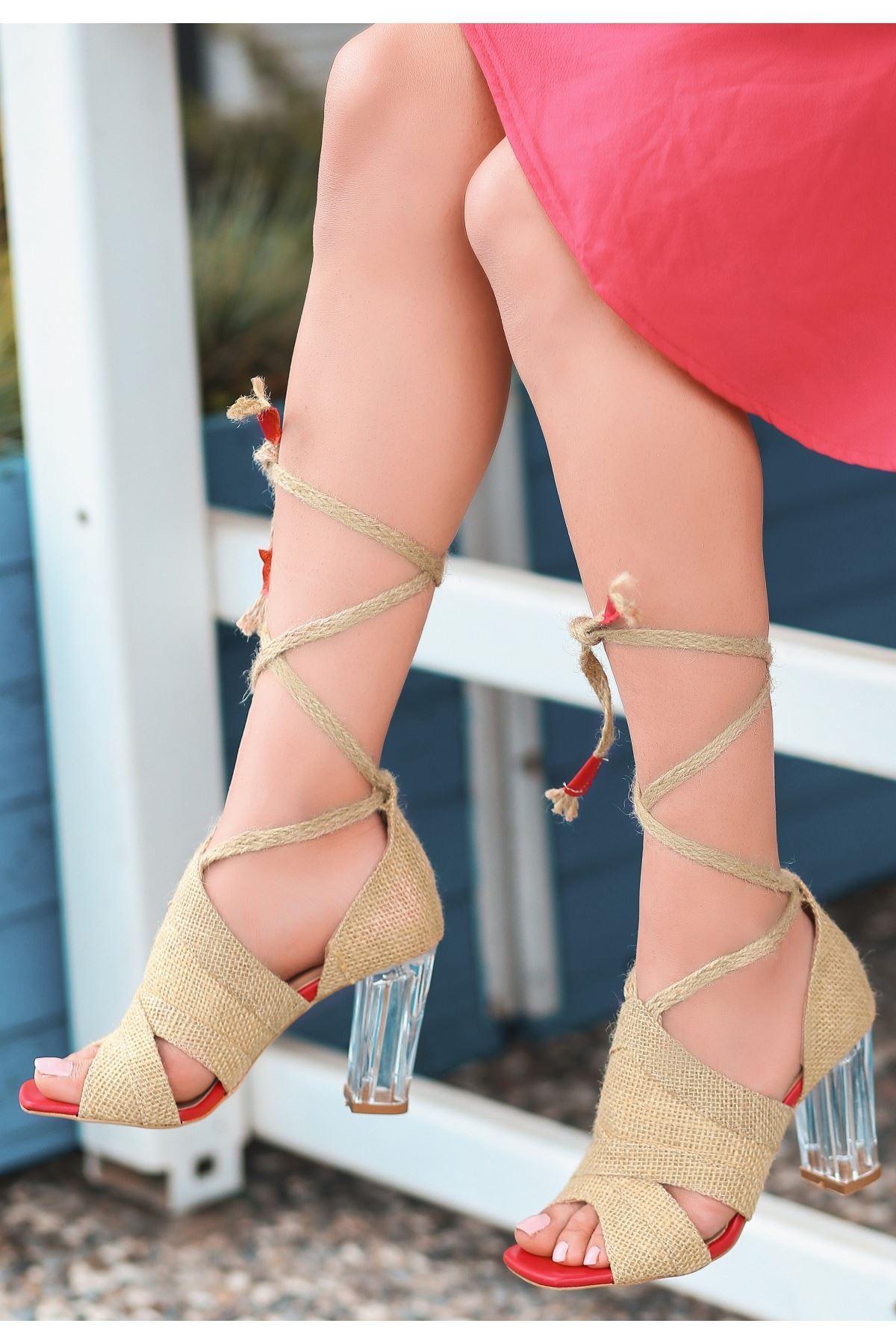 Konni Hasır Kırmızı Detaylı Topuklu Ayakkabı