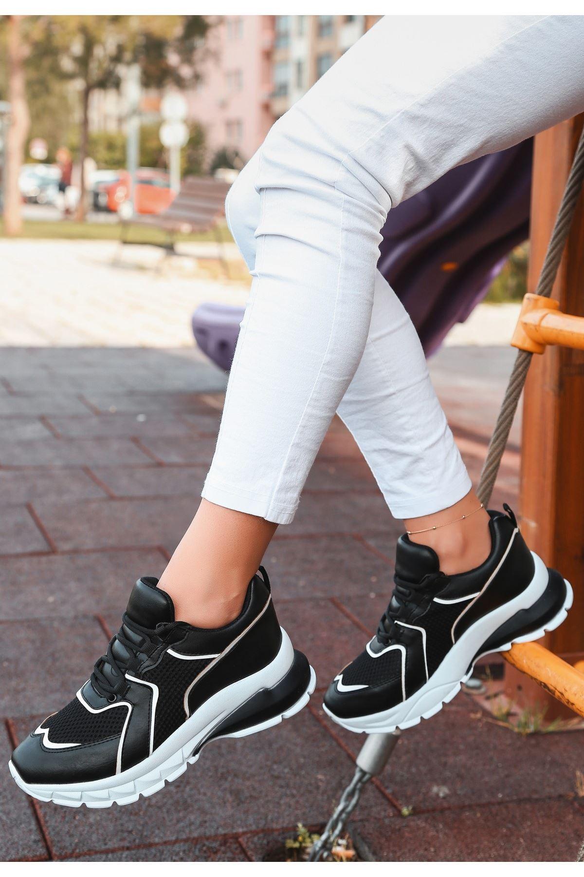 Dence Siyah Cilt Beyaz Detaylı Spor Ayakkabı