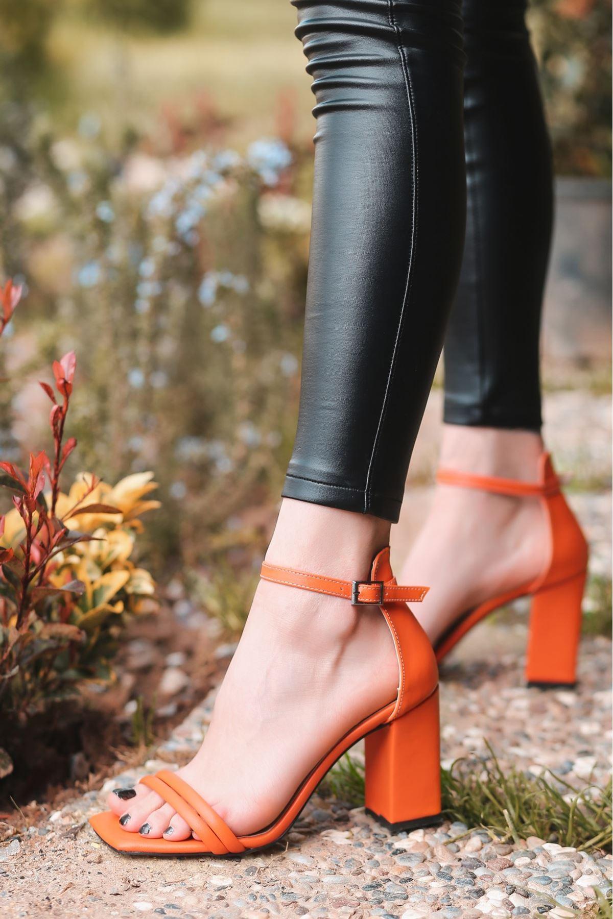 Esga Turuncu  Cilt Topuklu Ayakkabı
