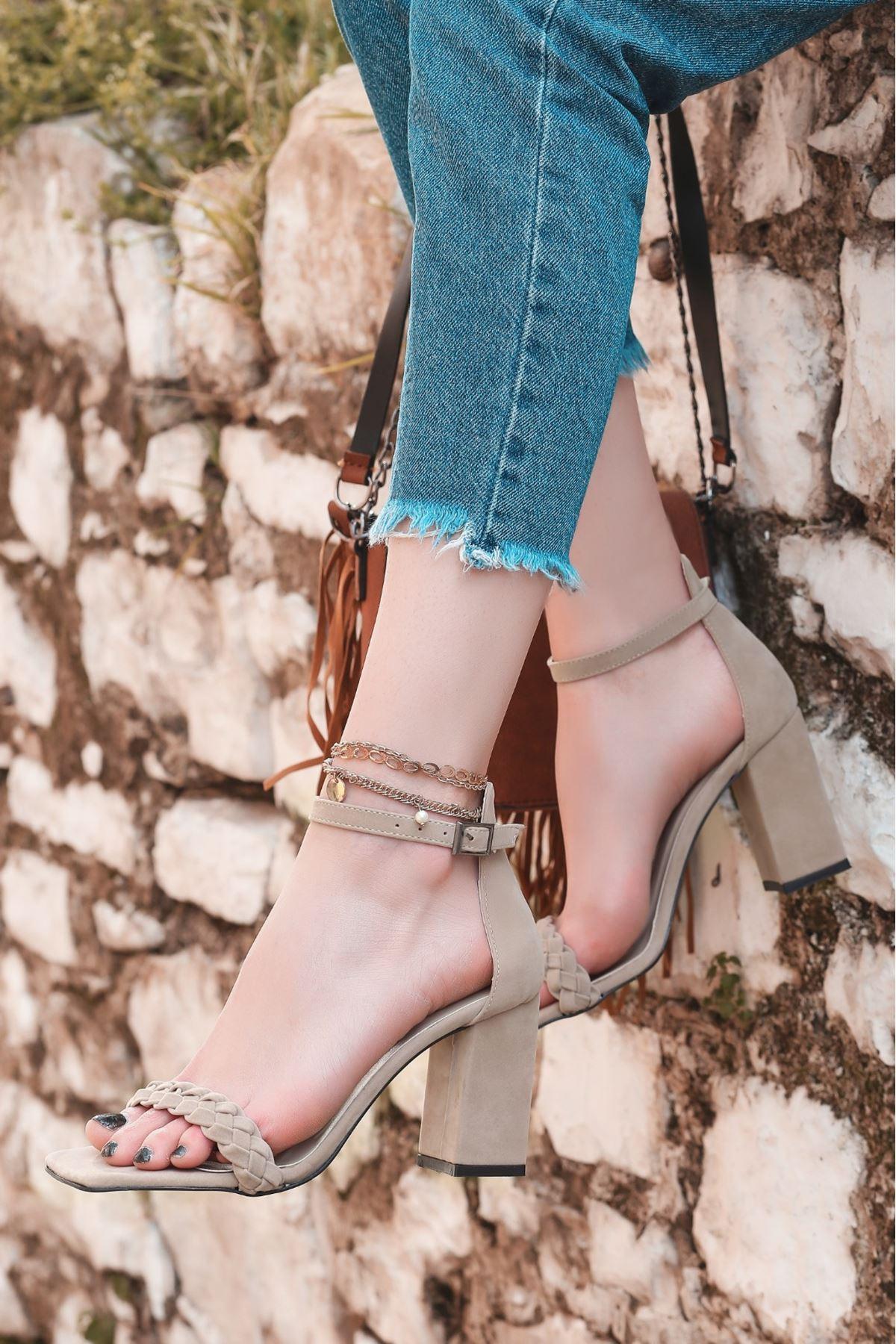 Niry Vizon Süet Topuklu Ayakkabı