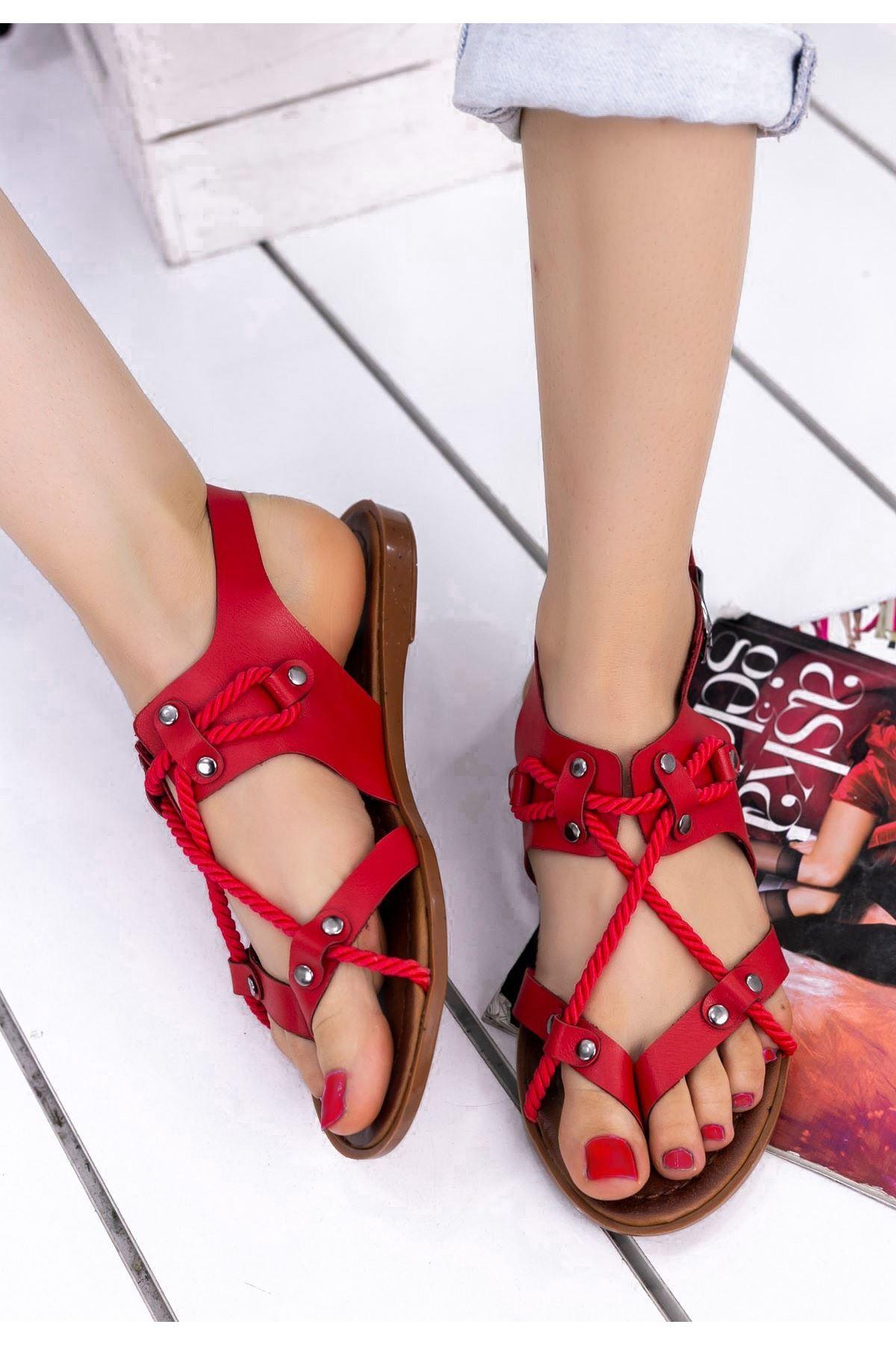 Cass Kırmızı Halatlı Sandalet