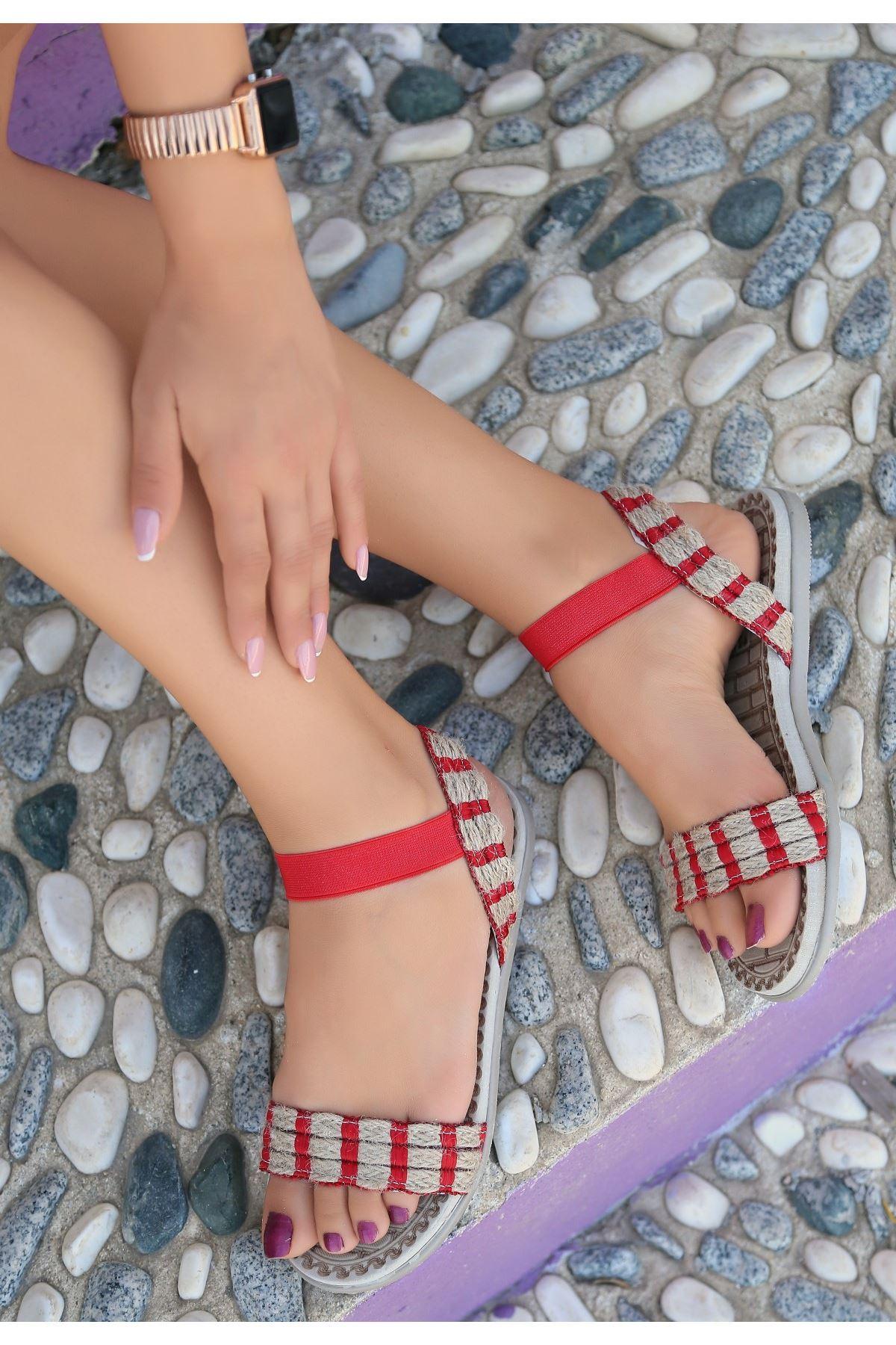 Emat Kırmızı Hasır Dokumalı Sandalet