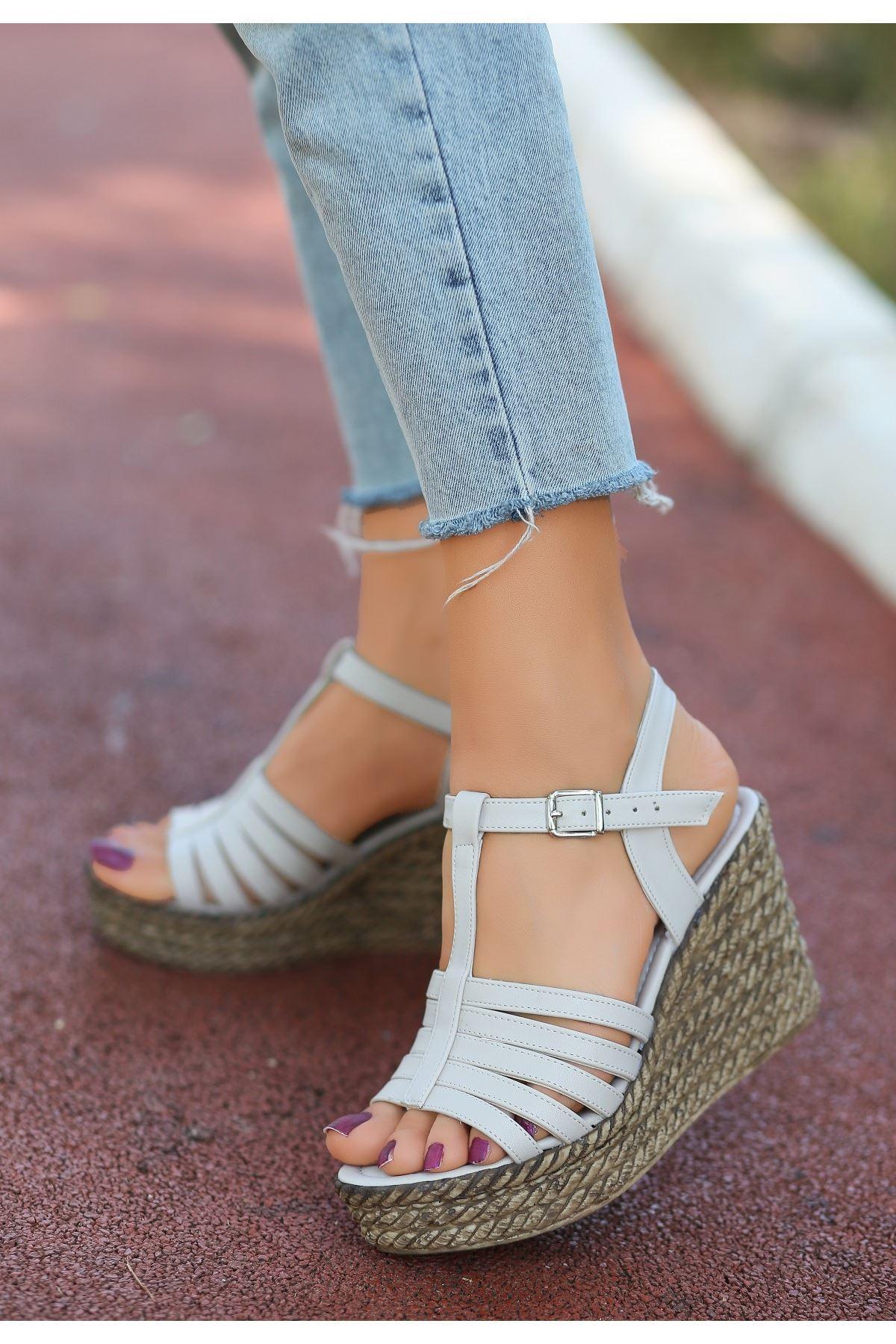 Lino Ten Cilt Dolgu Topuk Sandalet
