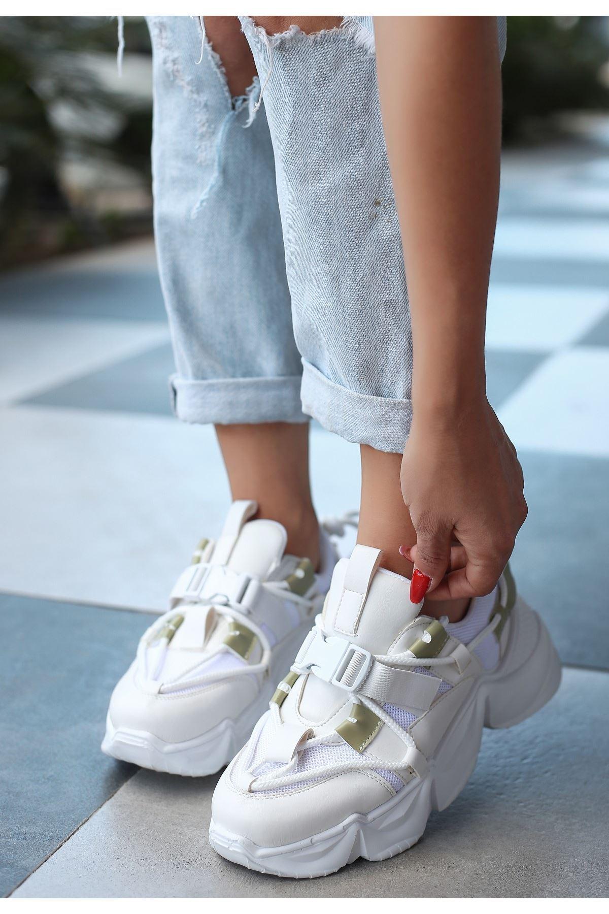 Maine Beyaz Cilt Yeşil Detaylı Spor Ayakkabı