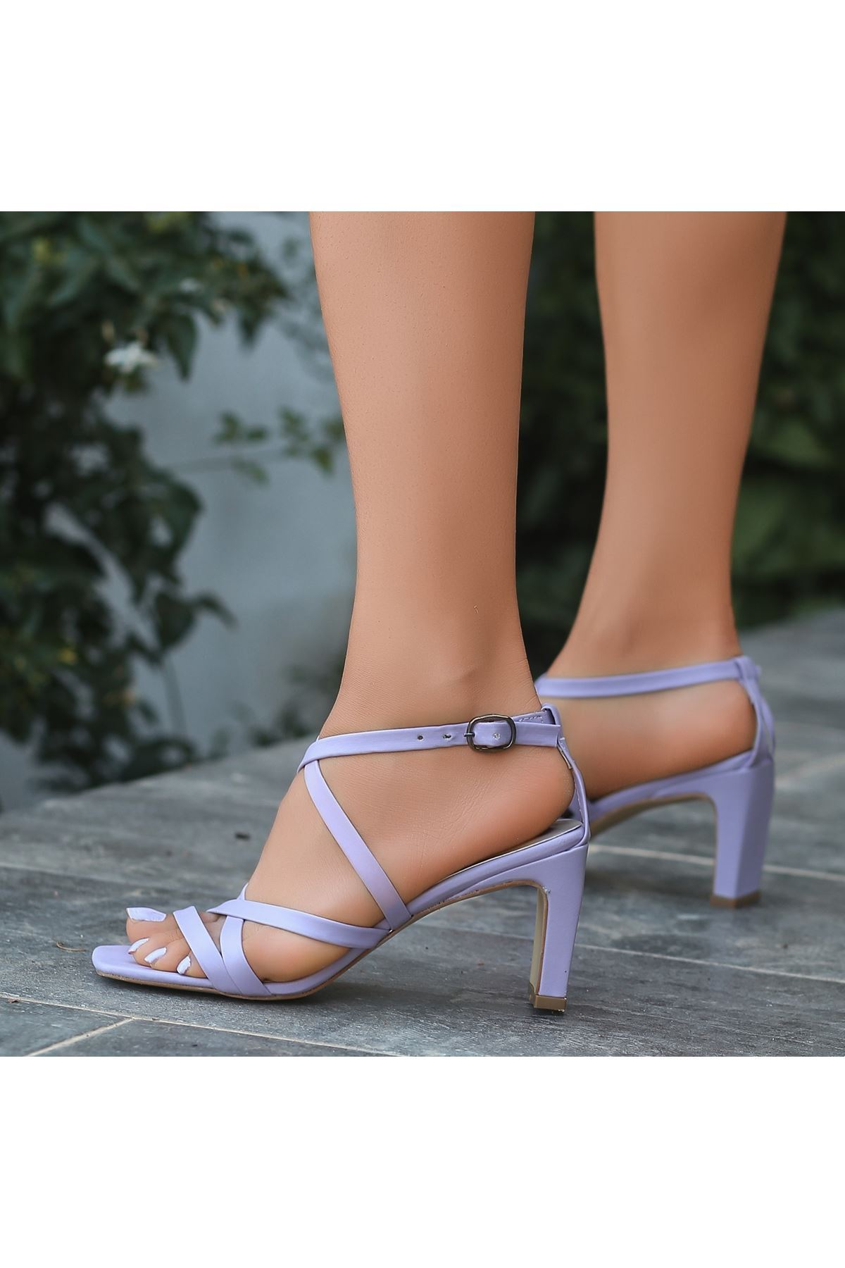Utic Lila Cilt Topuklu Ayakkabı