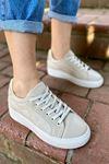 Marca Bej Yılan Detaylı Sneaker